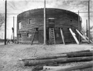 Exterior, Restoration, Arcadia Round Barn, February 20, 1989