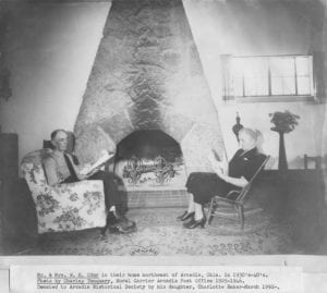 Mr. & Mrs. W. H. Odor in their home northeast of Arcadia, Oklahoma in 1930's–40's