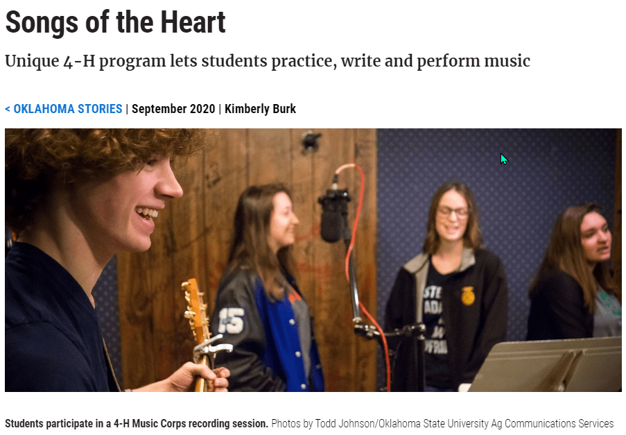 Songs of the Heart - Unique 4-H program lets students practice, write and perform music