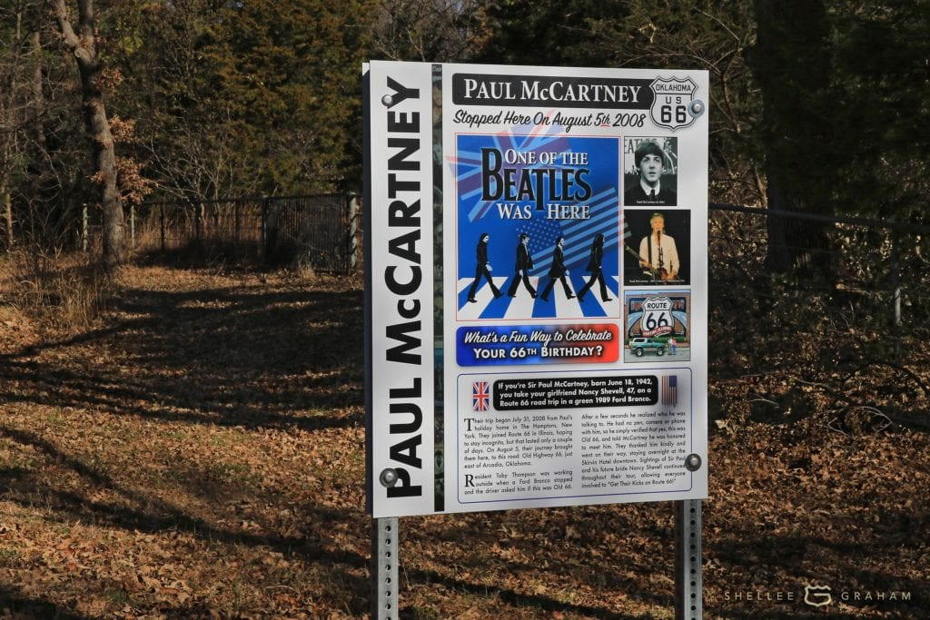 The Paul McCartney sign was placed in November on a stretch of the original Route 66 that is now an Oklahoma County road. Photo by Shellee Graham