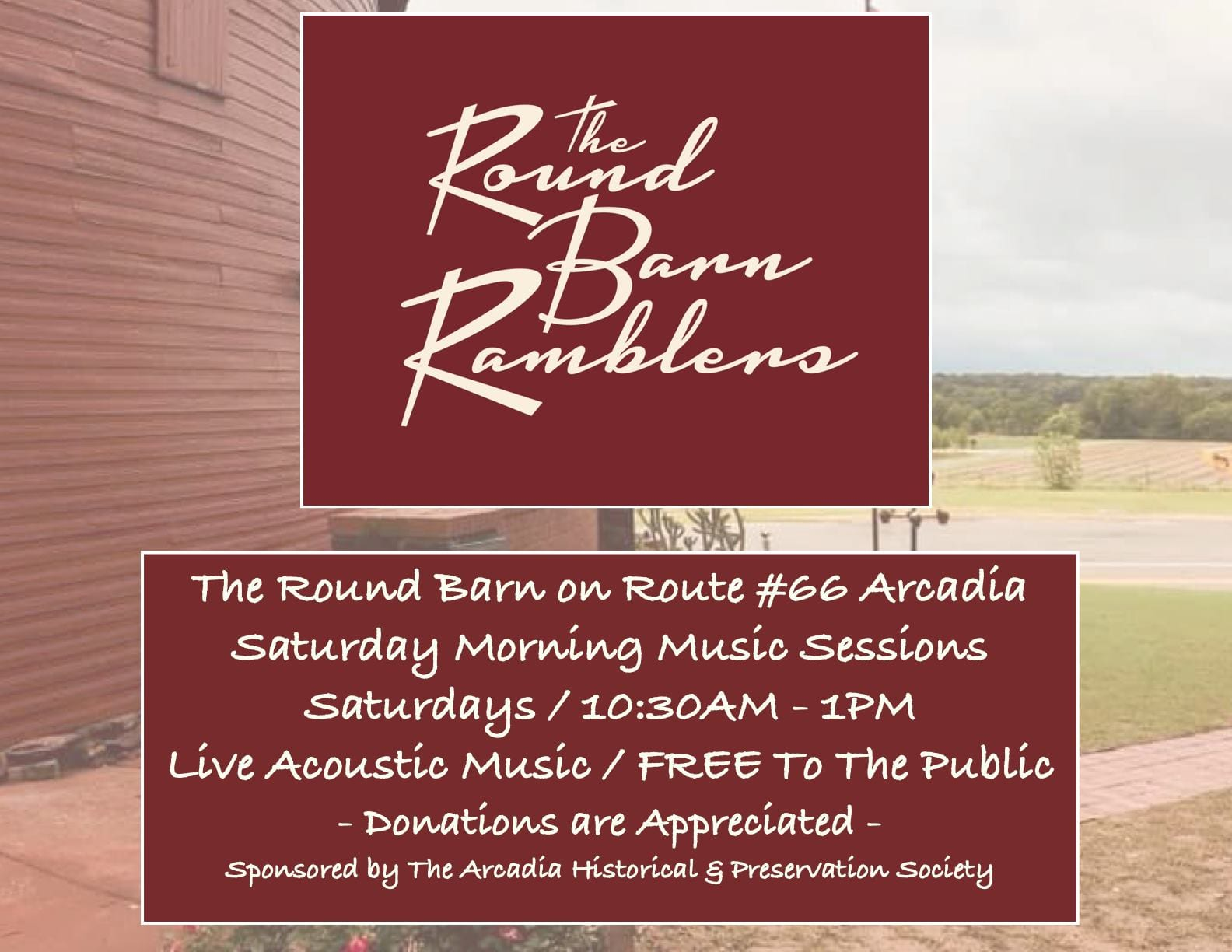 The Round Barn Ramblers - Weekly Live Music Acoustic Sessions - Arcadia Round Barn Oklahoma Route 66