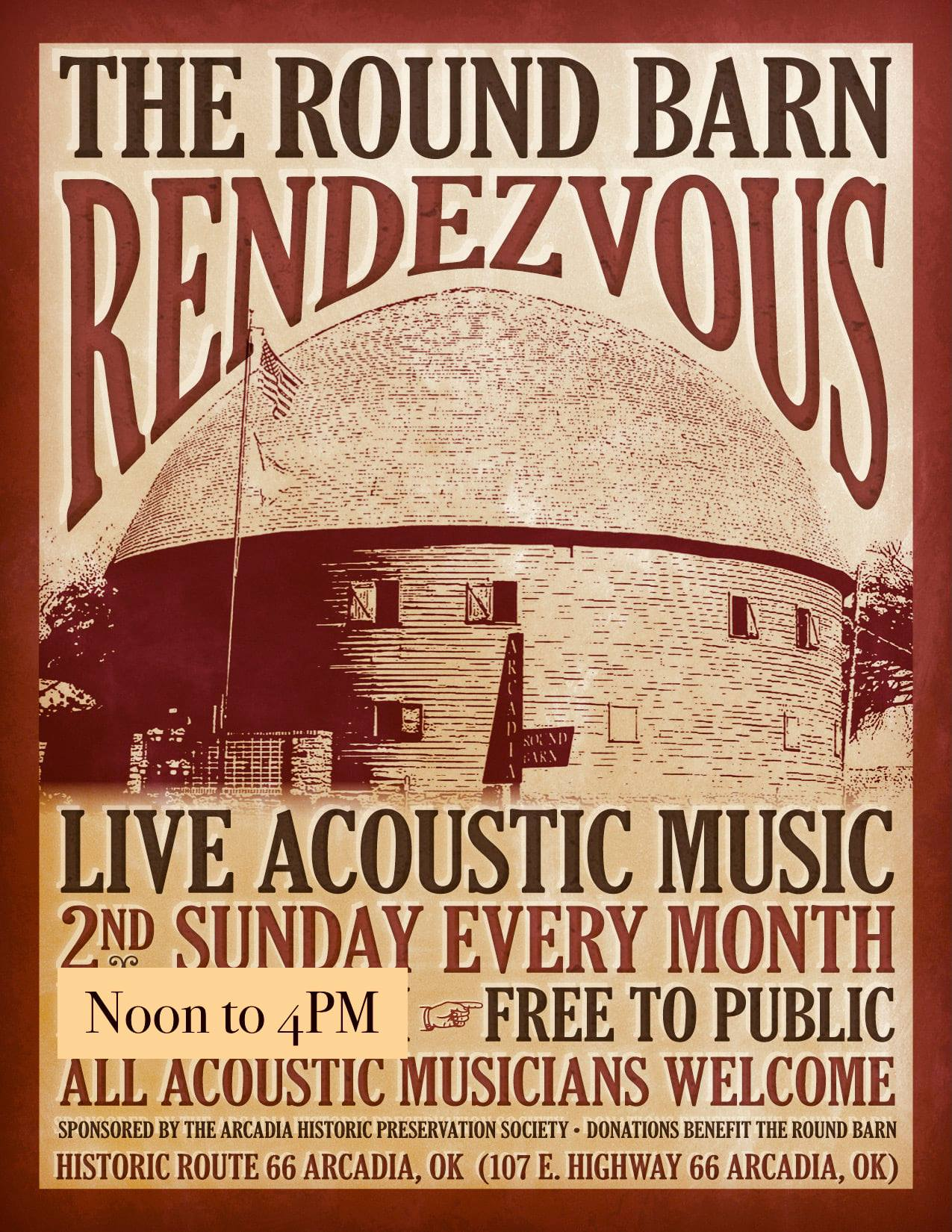 The Round Barn Rendezvous - All Acoustic Musicians Welcome - Historic Route 66 Arcadia Round Barn